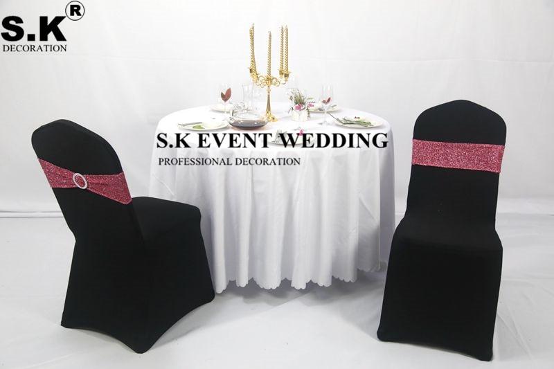 شريط كرسي لامع من ألياف لدنة ، مع ربطة عنق ، للولائم ، غطاء كرسي ، ديكور حفلات الزفاف والمناسبات