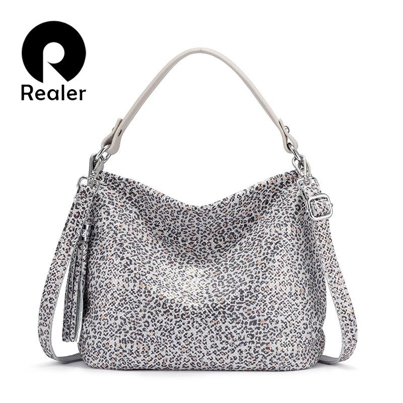 REALER women handbags genuine leather shoulder bag female crossbody bags for ladies 2020 totes hobos bag leopard print leather