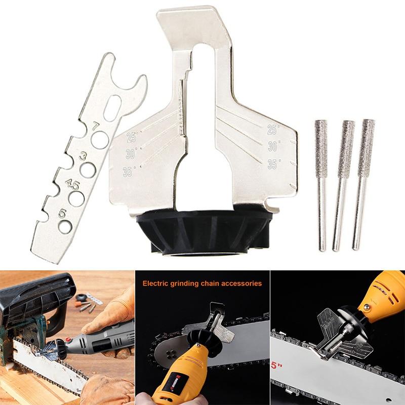 Grandininių pjūklų galandimo priedas rotacinių įrankių grandininių pjūklų galąstuvų tvirtinimas grandininių pjūklų galąstuvų kreipiamojo grąžto adapterio galvos liniuotė