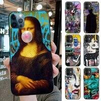 Graffiti Mona Lisa Dictionary Original Page Phone Case For Iphone 12pro Max 11 Pro XS MAX 8 7 6 6S Plus X SE 2020 XR Case