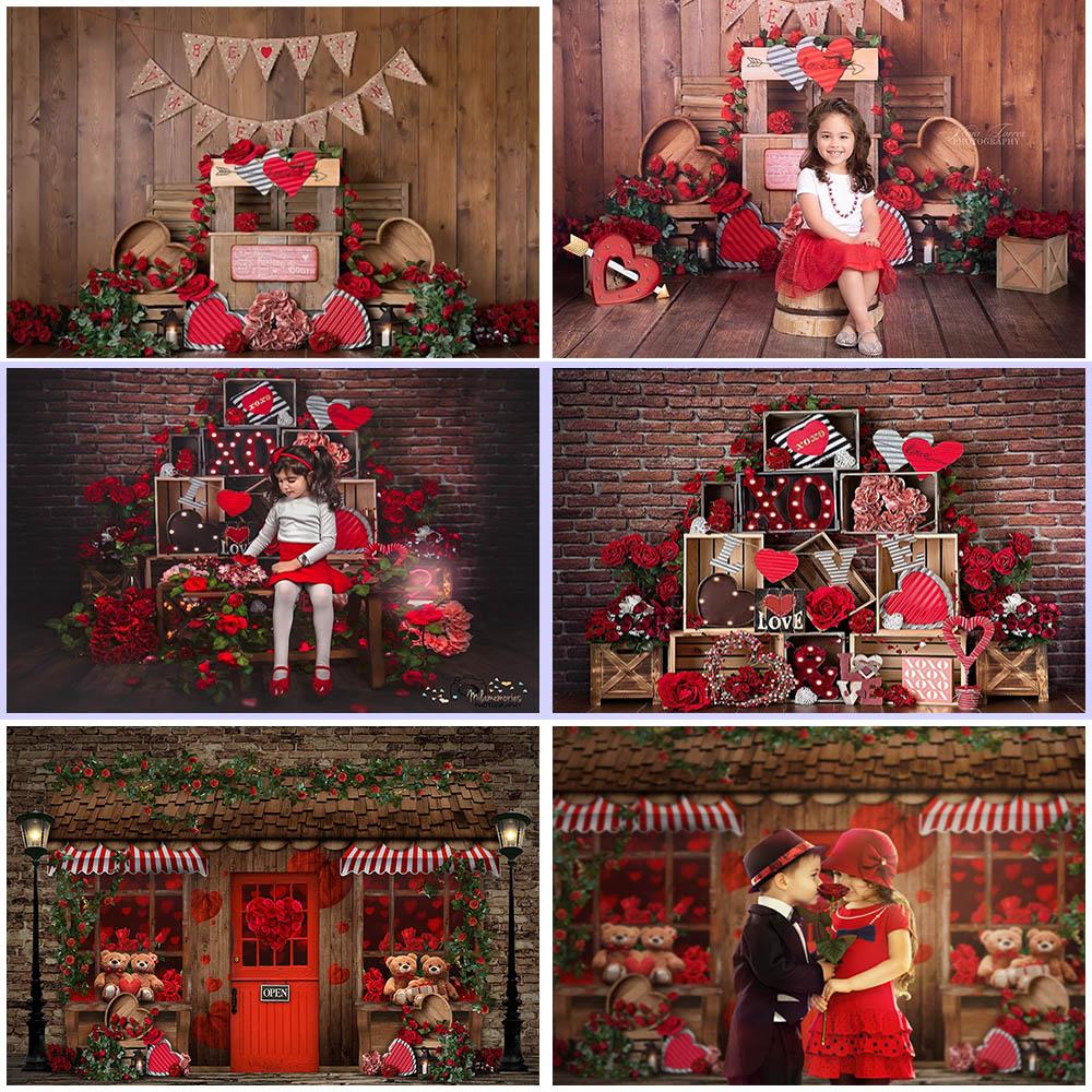 MOCSICKA Valentine Brick Wall Photography Backdrops Rose Bear Love Decor Children Cake Smash Photocall Background Photo Studio