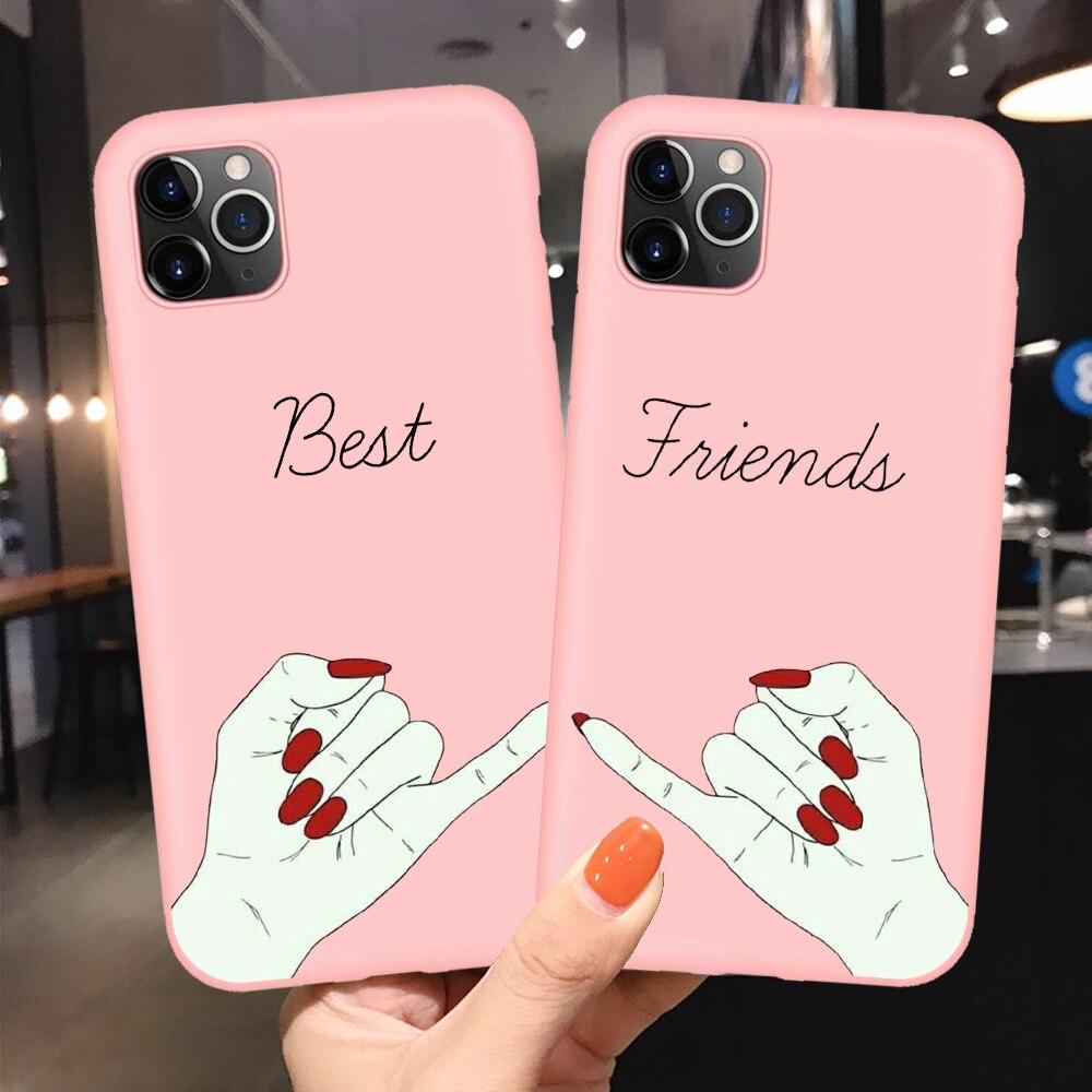 Funda suave para teléfono Bff Best Friends parejas para iphone 11 Pro Max dibujo animado cerdo estampado Rosa Tpu funda para el iphone 7 8 Plus X XR XS Max