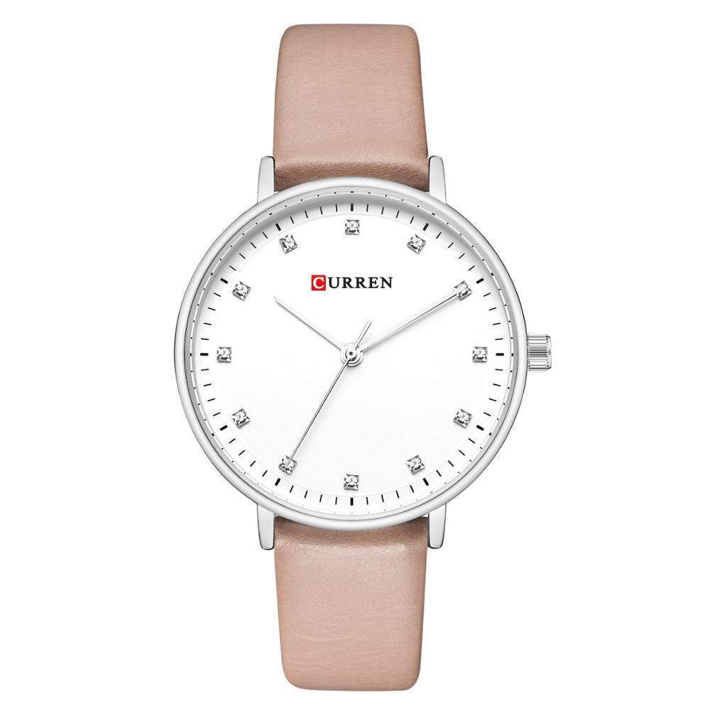 CURREN Ladies Watch 2019 Classic Luxury Rhinestone Female Clock Genuine Leather Band Wristwatch Casual Women Romantic Gift Watch enlarge