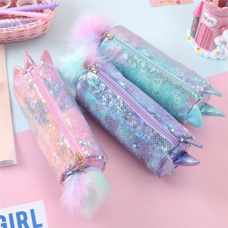 Cute Unicorn School Pencil Case for Girls Boys Pencilcase Sequin Pen Box Large Cartridge Big Pencase Bag Stationery Supplies Kit