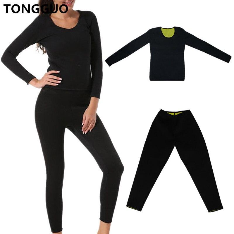 Women Slimming Pants Long Sleeve Tops Fitness Waist Corset Body Shapers Sport Panties Shirt Weight Loss Neoprene Sweat Sauna Set