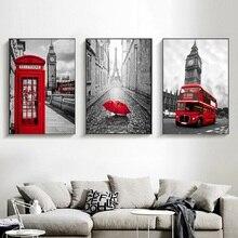 Красный автобус черный белый Париж Лондон плакаты и принты картины на холсте телефонная будка художественные настенные картины для декора ...