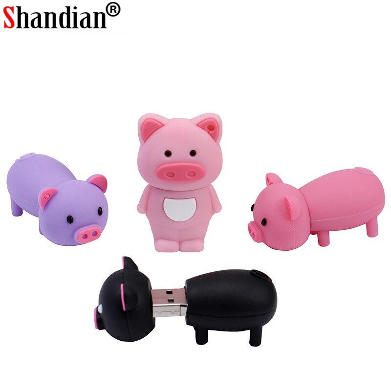 SHANDIAN Pen Drive con dibujo animado cerdo Rosa Pendrive 4GB 8GB 16GB 32GB 64GB Usb Flash Drive USB 2,0 Flash Memory Stick disco regalo clave