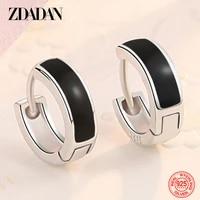 zdadan 925 sterling silver black hoop earring for women party birthday gift accessory wholesale