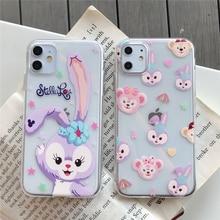 Bonito dos desenhos animados duffy urso ballet coelho shirley rosa caso para iphone 11 pro x xr xs max 6s 7 8 mais claro silicone macio capa coque