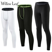 willow leaf new compression pants gym leggings men running sport quick dry pants fitness training trousers male workout sportwea