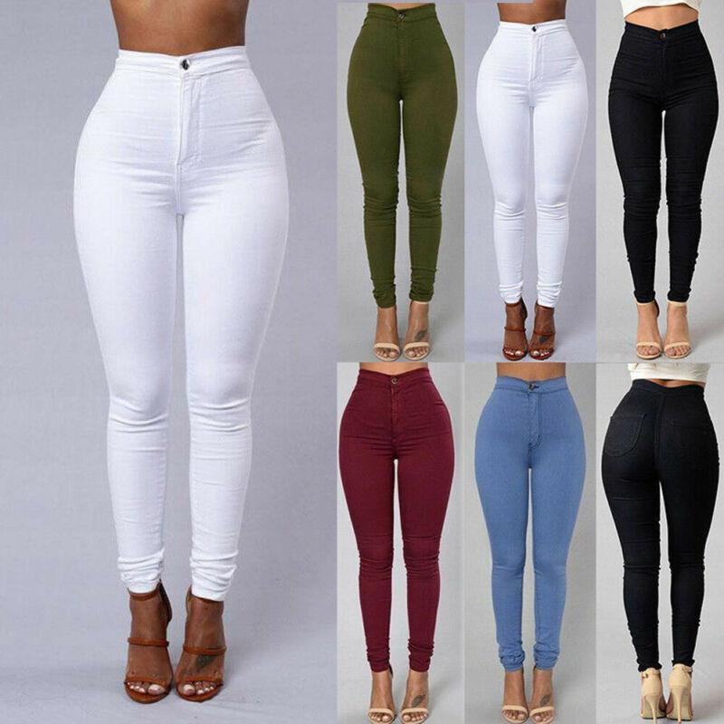 Women Denim Skinny Leggings Pants High Waist Stretch Jeans Casual Solid Female Slim Thin Elastic Long Pencil Trousers
