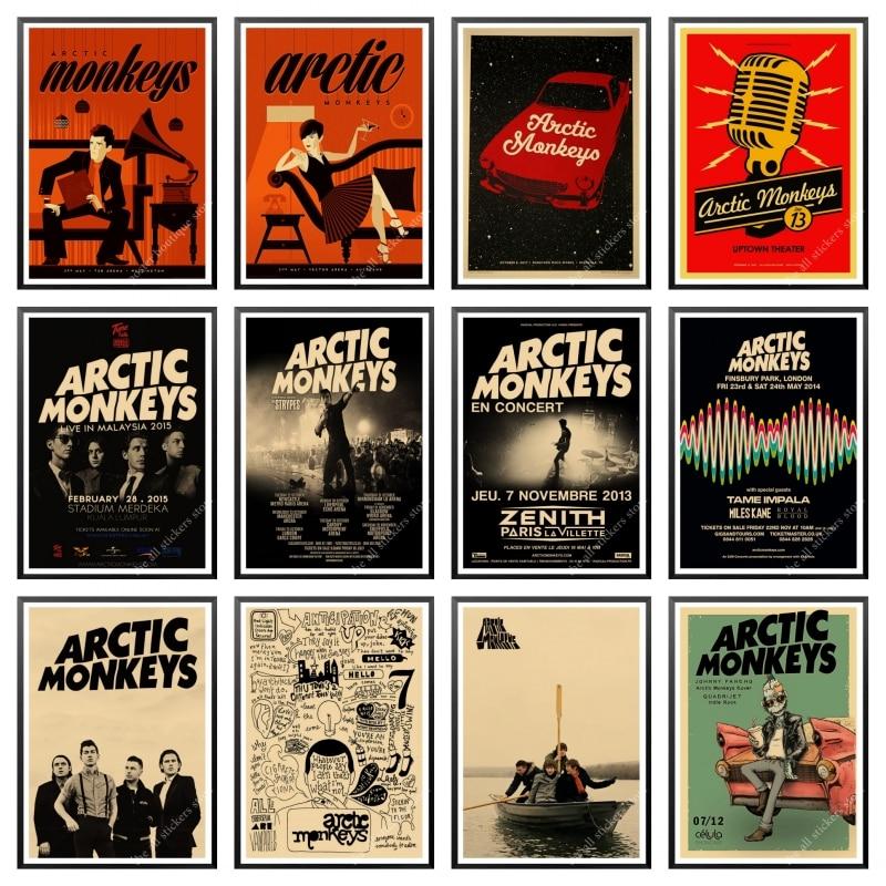 Постеры из крафт-бумаги с изображением арктических обезьян рок-группы, настенные плакаты для дома и бара, домашний декор, подарок, домашний ...