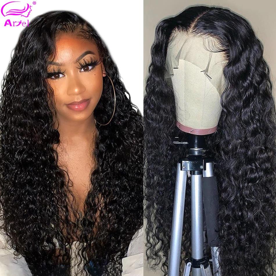 Peluca brasileña de onda de agua 13*4 13*6 pelucas de cabello humano con frente de encaje peluca Natural pre-desplumada Remy 28 30 pulgadas pelucas de encaje transparente