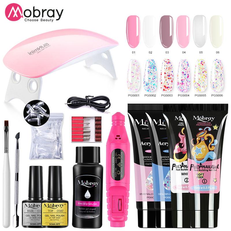 Mobray Manicure Set Poly Nail UV Gel Kit LED Lamp False Nail Extension Builder Set Base Top Coat Pol