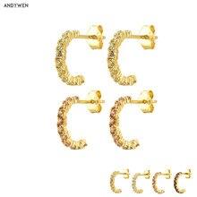 ANDYWEN, pendientes redondos de Plata de Ley 925 de color dorado con circulo, pendientes de cristal de lujo para mujer, joyería para Piercing fina 2020, el mejor regalo