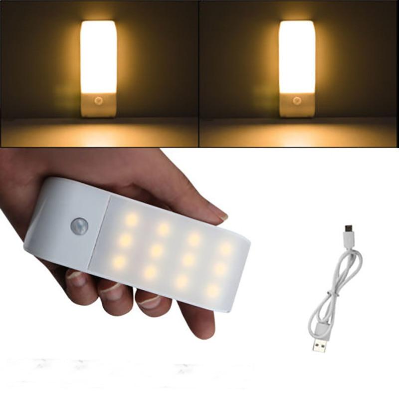Lámpara LED de 12 LEDs, recargable por USB, con Sensor de movimiento PIR para cocina, lámpara de pared inalámbrica portátil para dormitorio, luz nocturna, luces LED para el hogar