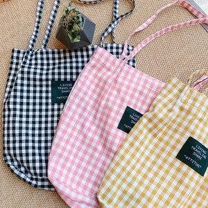 Women Plaid Canvas Shoulder Bag Female Cotton Cloth Bag Eco Environmental Shopping Bag Girl Simple Literary Checked Handbag Tote