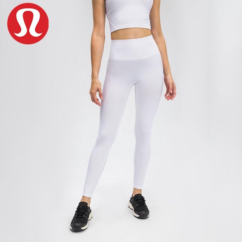 Pantalones ajustados acanalados de tiro alto para mujer, pantalones ajustados con rosca...