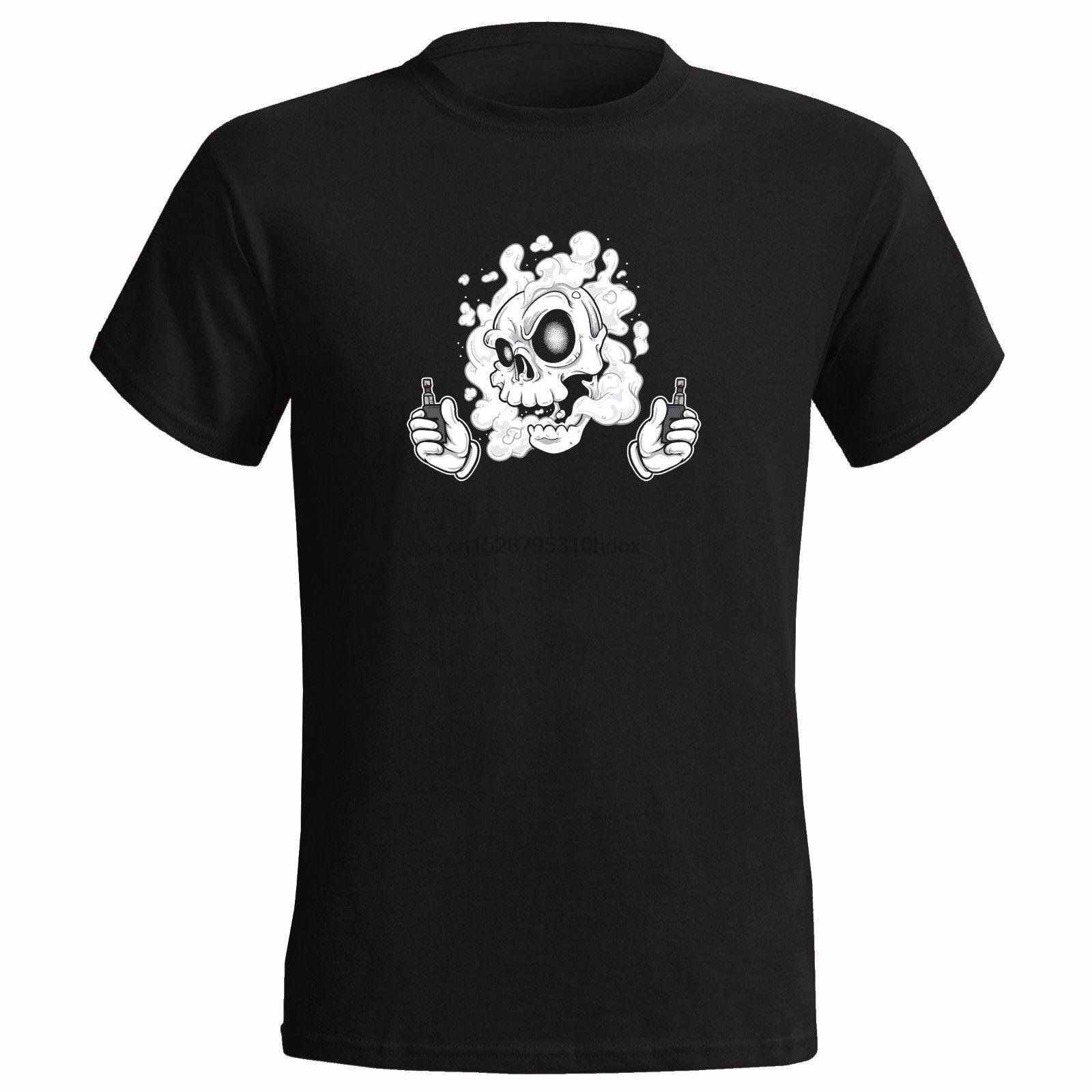 Dos Mod cazador de nubes para hombre Camiseta vaper vape cráneo esqueleto amor a fumar regalo (1)