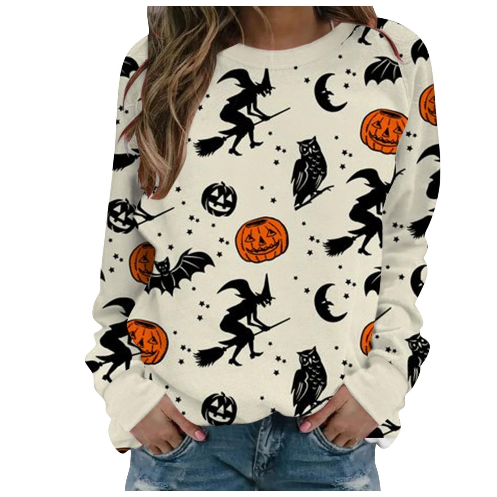 Las mujeres Impresión De Halloween sudadera De manga larga Casual Blusa Jersey...