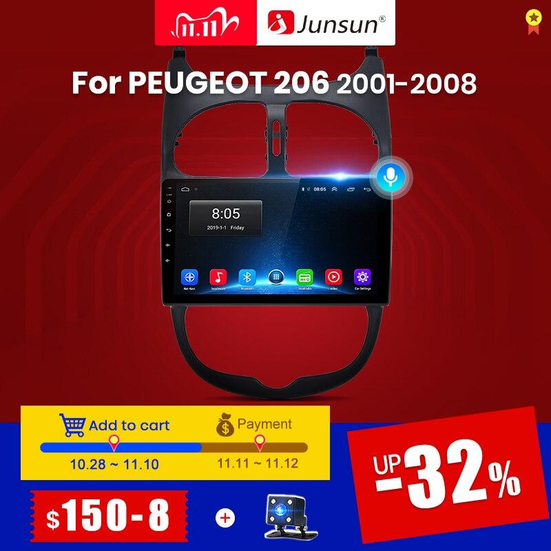 Navegação estereofônica do jogador 2 do rádio do carro do ruído bluetooth gps nenhum 2din dvd de junsun 4g + 64g android 10 para peugeot 206 2001 - 2008