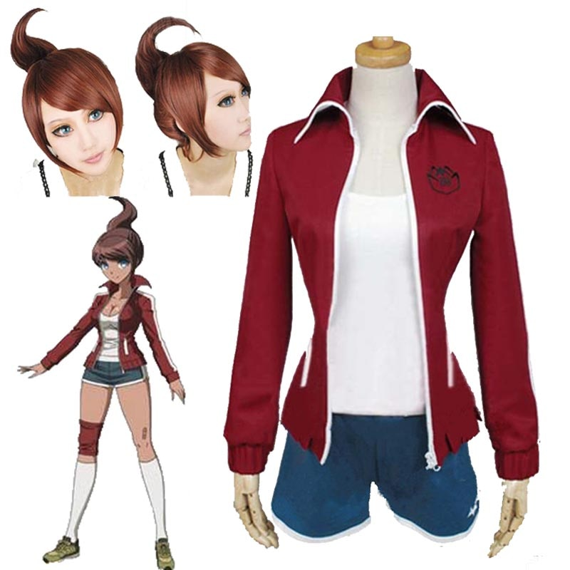 Dangan Ronpa Cosplay danganronpa Aoi Asahina uniforme vino rojo pantalones cortos para mujeres chicas Anime Halloween fiesta Cosplay disfraces peluca