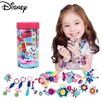 disney childrens handmade color string diy pop beaded cordless necklace girl wearing bead educational toy kindergarten