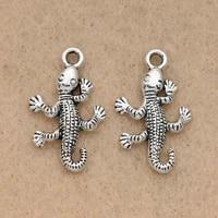 10pcs tibetan silver plated lizard charms pendants handmade jewelry diy bracelet accessories making craft 25x16mm
