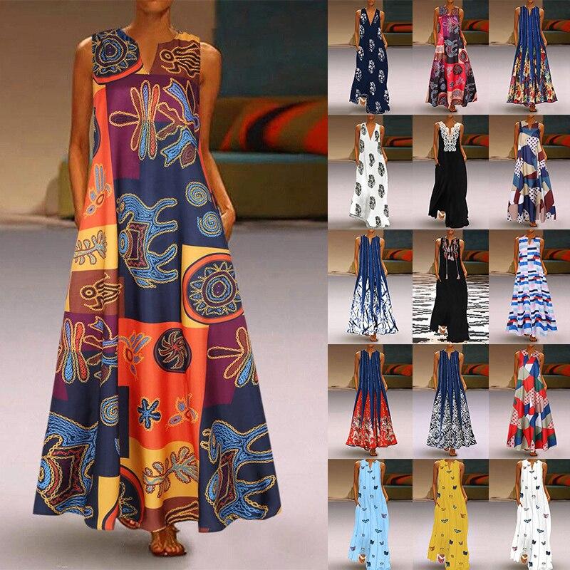 2020 vestido de verano de talla grande Boho Vintage de playa Casual suelto sin mangas vestido de mezcla de algodón Floral largo Maxi vestidos de fiesta S-5XL