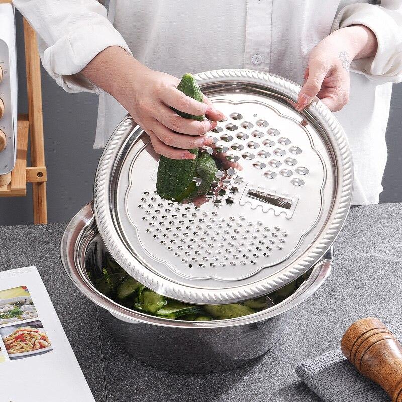 De acero inoxidable escurridor cortador de vegetales Kit Cocina multipropósito rallador Juliana ensalada de tazón K888