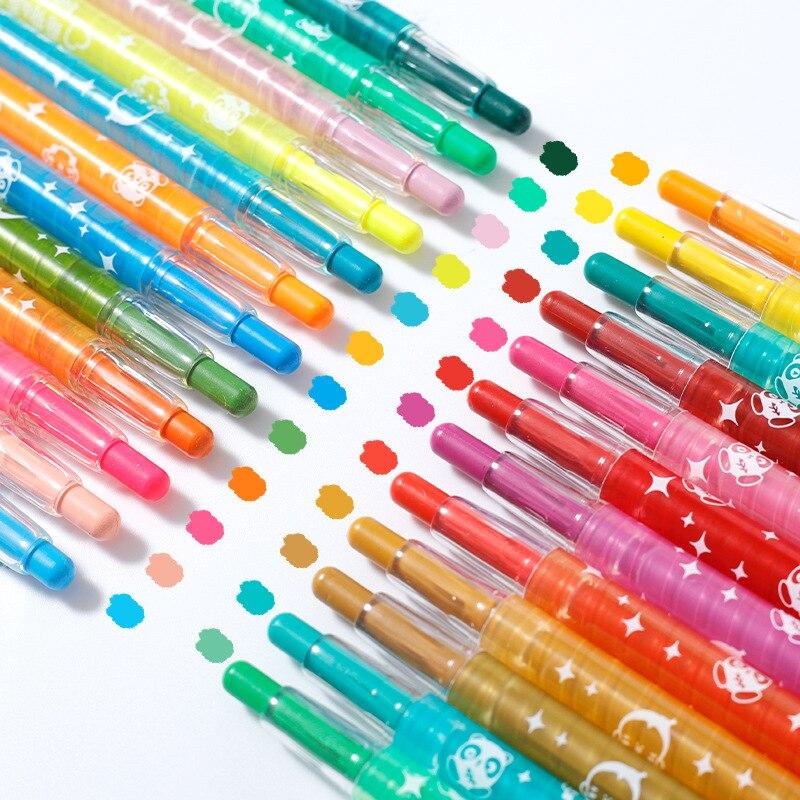 Crayones de pintura suave y seco Pastel 12/24/36 colores/Juego de dibujo de arte juego de tiza Color pincel de cera artículos de papelería para estudiantes