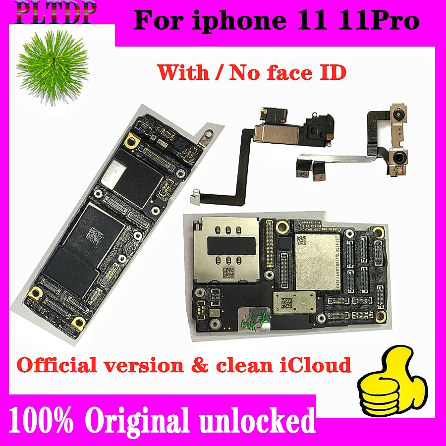 Promo 100% Original Unlocked For iPhone 11 &11 PRO Motherboard With/No Face ID Full chips Tested Support iOS update Logic board