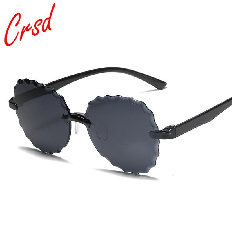 CRSD 2020 Fashion Flower Round Shape Sun Glasses Plastic Frame Rimless Round Sunglasses Women Vintag