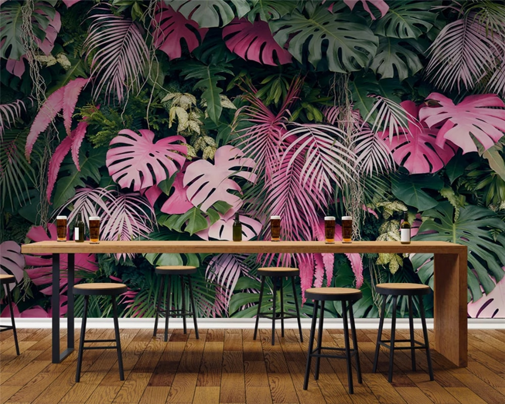 beibehang papel de parede Custom modern fashion wallpaper pink green tropical rainforest plant background wall paper