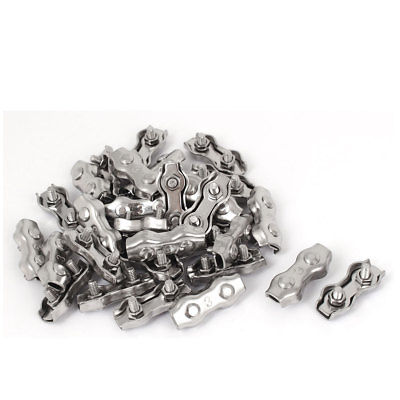 M3 Stainless Steel Duplex 2-Post Wire Rope Clip Cable Clamp 30 Pcs недорого