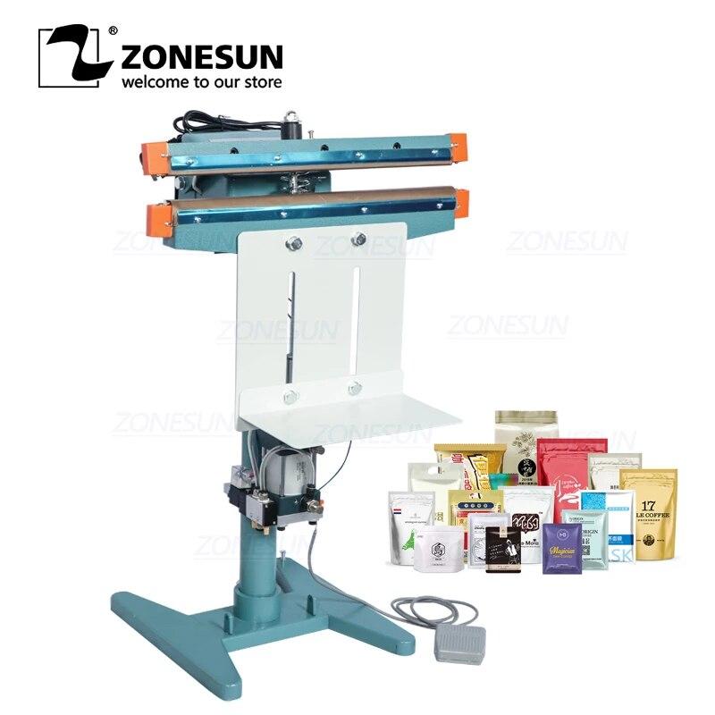 ZONESUN ZS-FK450D Pneumatic Foot Pedal Heat Sealing Machine Aluminum Foil Plastic Bag Sealer Food Beverage Machinery