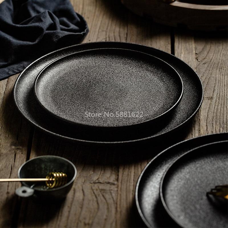 طبق سيراميك بلوري أسود ، أدوات مائدة بسيطة مستديرة ومربعة للمنزل ، الإفطار ، للمطعم ، الحفلات