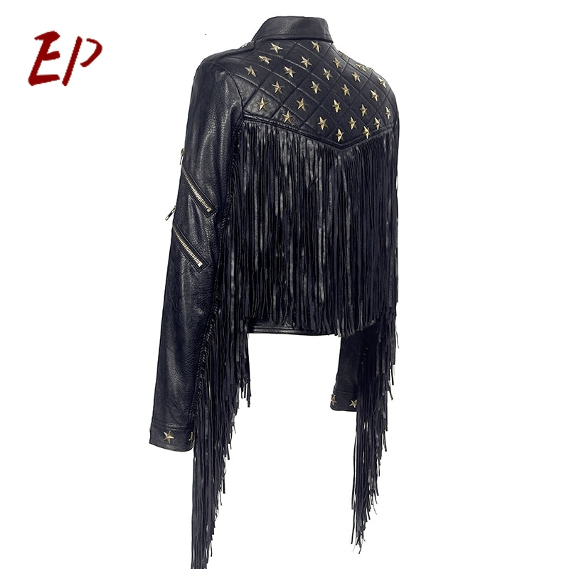 EP Female 2021 Clothing Patchwork Tassel Rivet PU Leather Women's Coats Lapel Collar Long Sleeve Asymmetrical Jackets enlarge