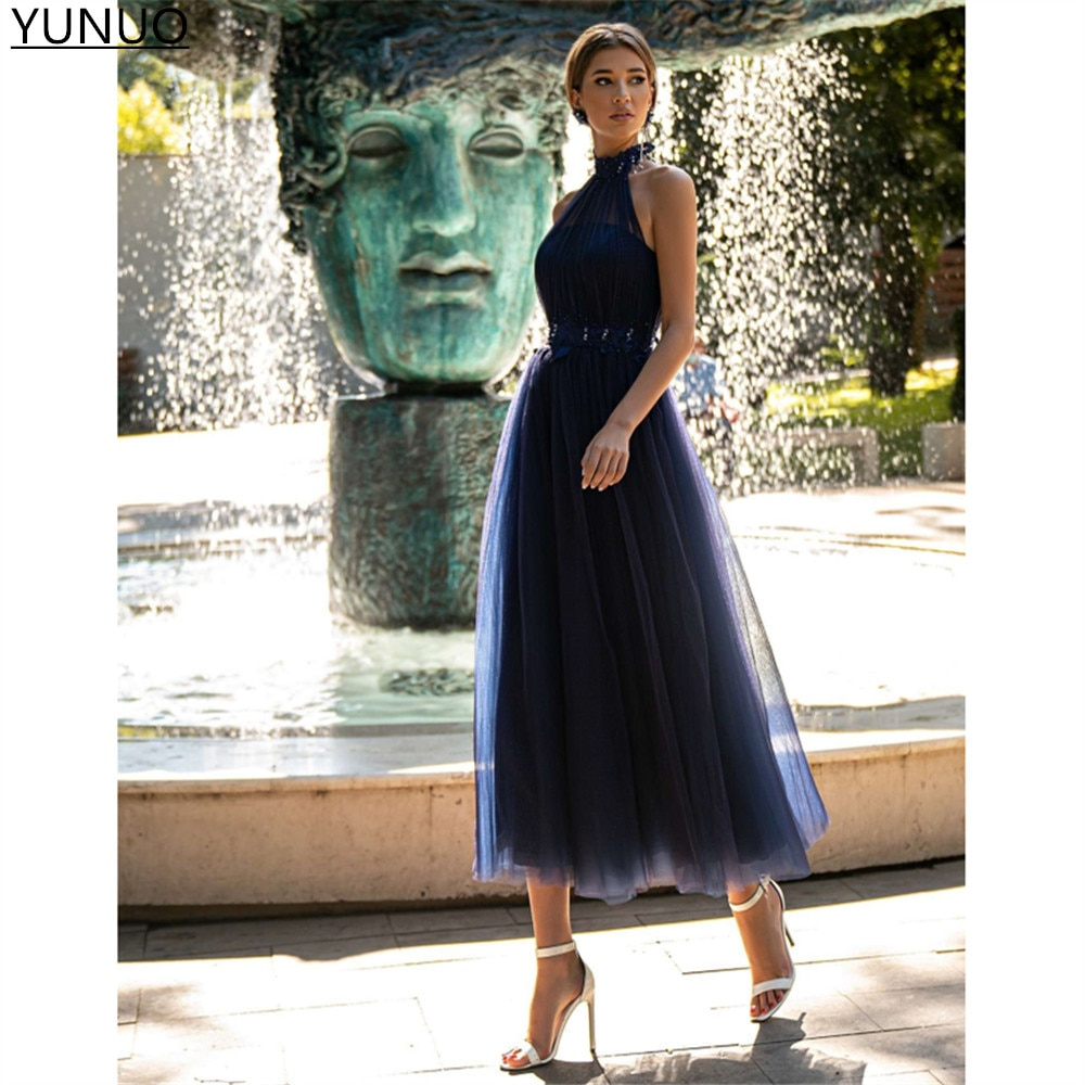 YUNUO Navy Blue Dotted Tulle Prom Dresses Vintage High Neck Appliques Pearls Mother's Formal Party G