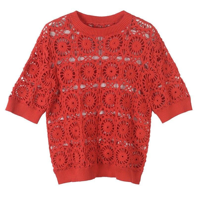 Runway o-cuello ajustado verano Camiseta corta Tops mujeres de manga corta rojo camisetas ropa de calle con aberturas Tops de punto camiseta