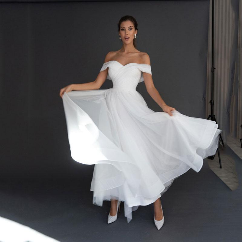 فساتين زفاف رائعة بسيطة 2021 أبيض على شكل قلب عاري الكتفين بأكمام خلفية للعروس طول الكاحل