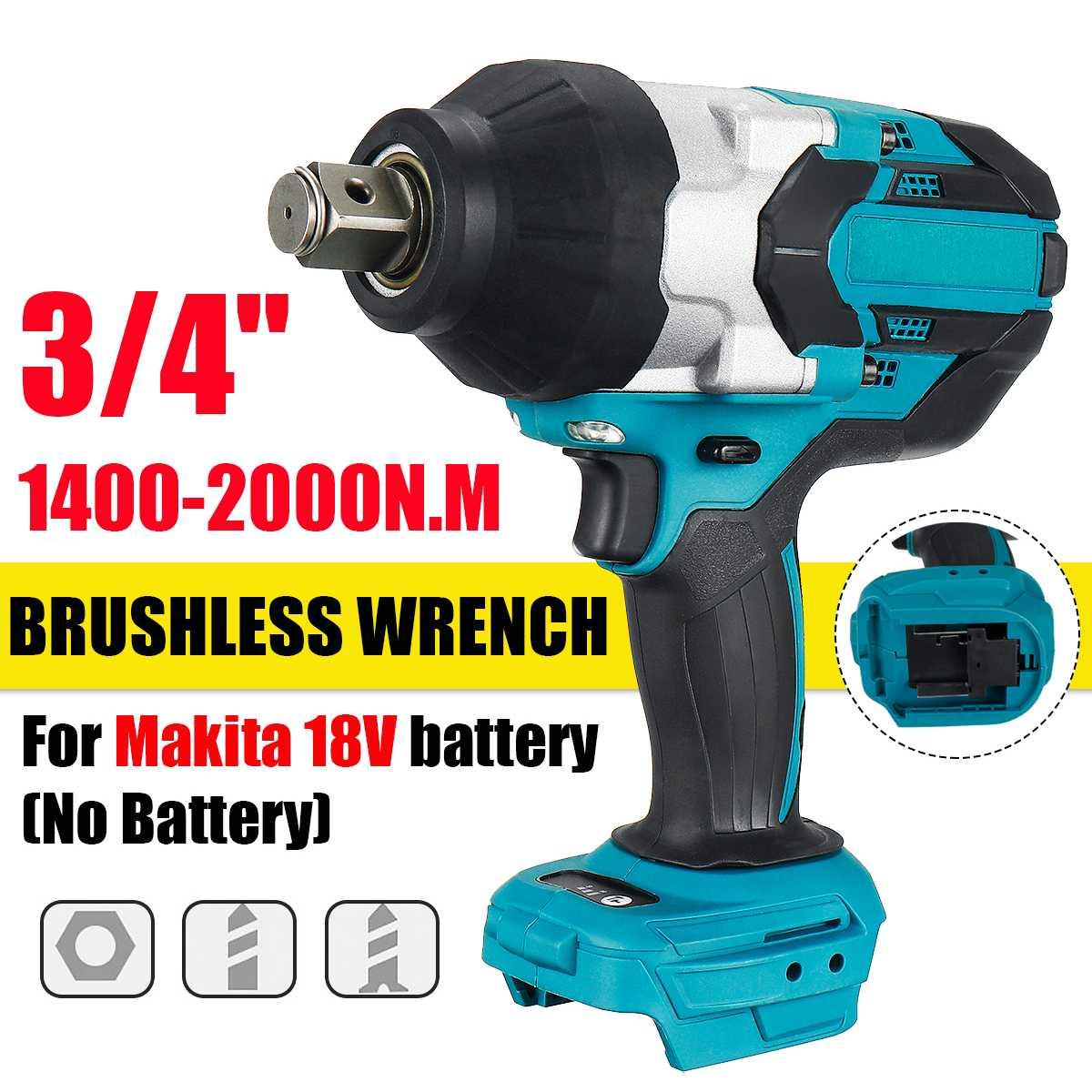 Drillpro عزم دوران عال 2000N.m فرش مفتاح برغي كهربائي 3/4 بوصة مفتاح بانة أداة سائق لاسلكي لبطارية ماكيتا 18 فولت