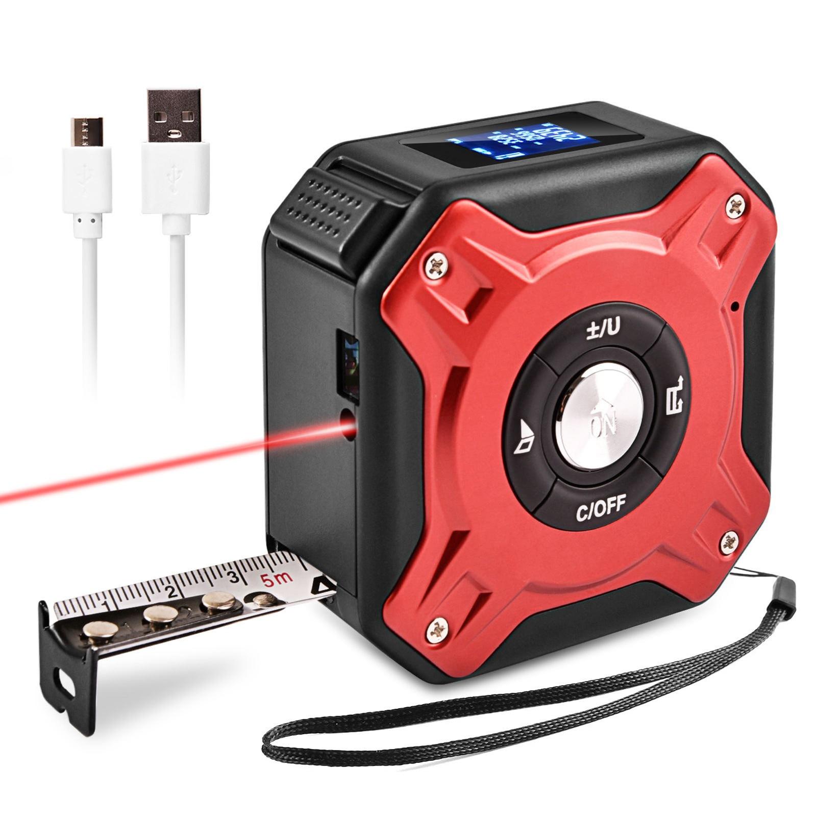 Fita de Medição Medidor de Distância Ferramenta de Medição de Alta Digital Laser Retrátil Multifuncional Precisão 40m 2-em-1