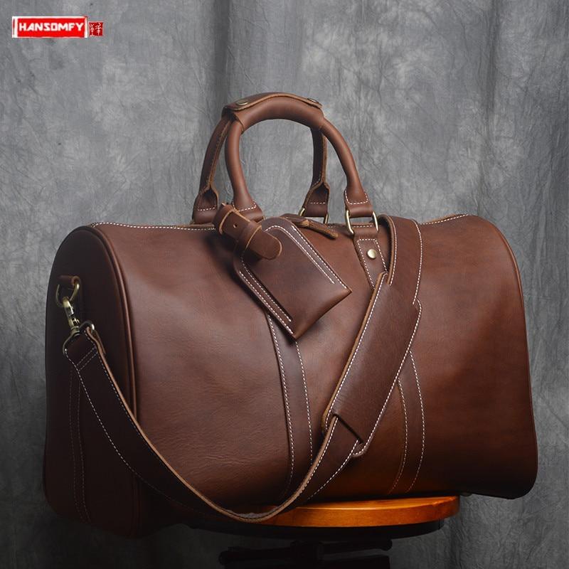 الرجال حقيبة سفر الرجال بسيطة كبيرة السعة حقيبة يد حقائب الأمتعة طبقة علوية جلد البقر جديد الأعمال السفر لمسافات قصيرة الذكور