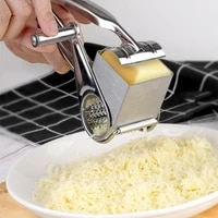 rotary cheese grater with container stainless steel hand crank rotory shredder butter knife cutter kitchen practical gadgets