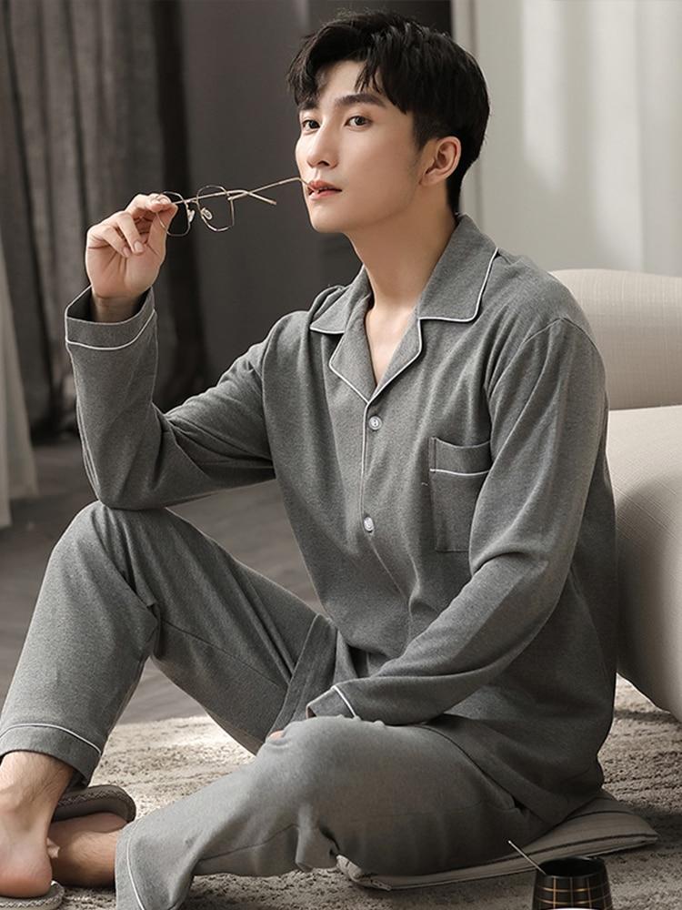 Осень Зима 100% 25 Хлопок Пижама для Мужчин Dormir Lounge Пижамы Пижамы Синий Постельное белье Дом Одежда Мужчина Спальня Пижама Хлопок Пижамы