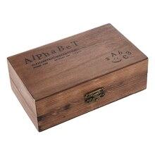 حزمة من 70 قطعة مجموعة الطوابع المطاطية صندوق خشبي خمر الأبجدية عدد الحروف الحرفية (وشملت لا مختمة)
