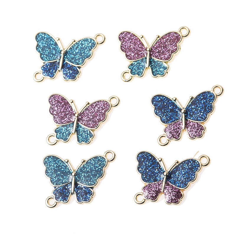 10pcs/lot Gold Color Butterfly Enamel Charms Connection Shiny Pendant For Jewelry DIY Making Accessories