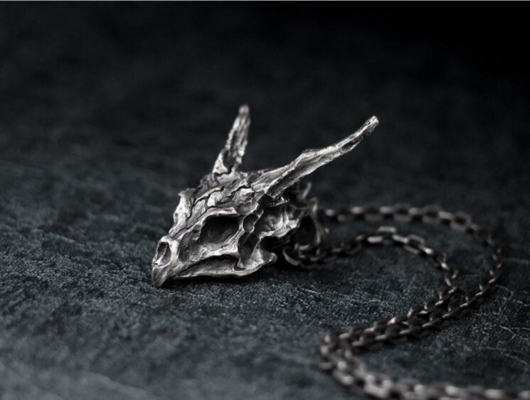 Antique Silver Skull Dragon Pendant Necklace For Men Women Dragon Lover