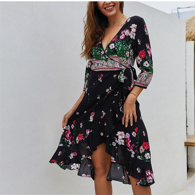 Vestido longo zanzea 2020 poliéster vestido feminino vadim vestidos mujer frete grátis roupas femininas nova primavera impressão quente longo